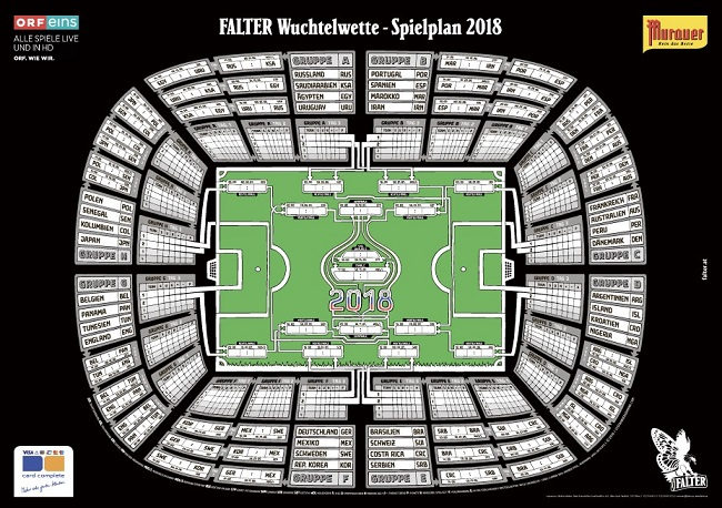 Das FALTER Wuchtelabo mit WM-Spielplan von DJ...